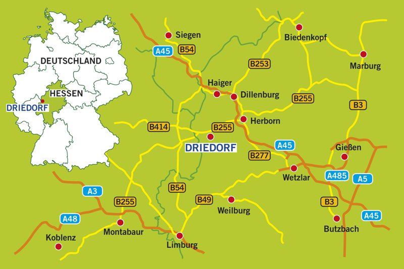 Westerwald Karte.Anreise In Die Gemeinde Driedorf Gemeinde Driedorf Lahn